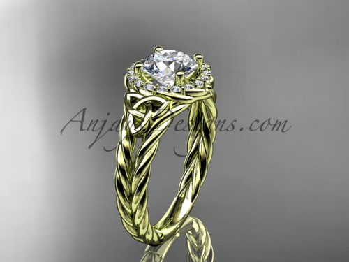 "14kt yellow gold halo rope celtic triquetra engagement ring with a ""Forever One"" Moissanite center stone RPCT9131"