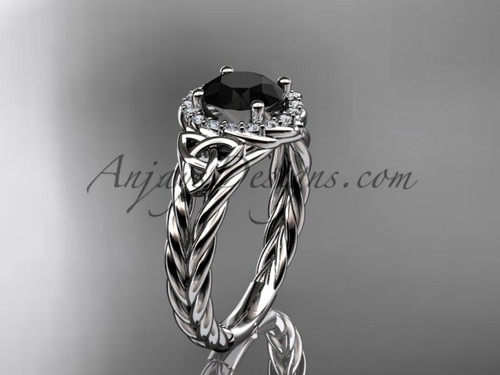 14kt white gold halo rope celtic triquetra engagement ring with a Black Diamond center stone RPCT9131