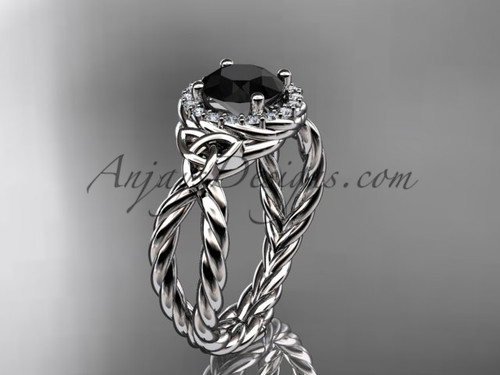 14kt white gold rope halo celtic triquetra engagement ring with a Black Diamond center stone RPCT9127