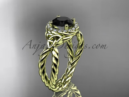 14k yellow gold rope black diamond wedding ring RPCT9127