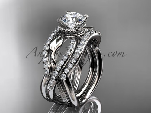 Platinum Double Wedding Band with Engagement Ring ADLR70S