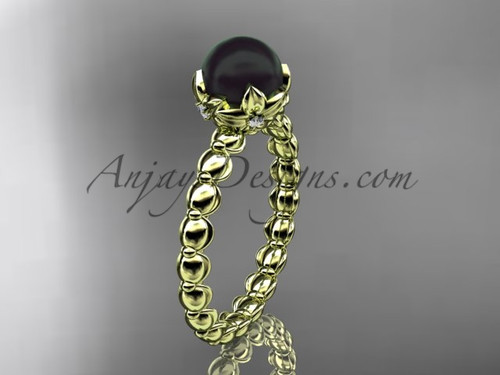 Yellow Gold Floral Round Black Pearl Engagement Ring ABP34