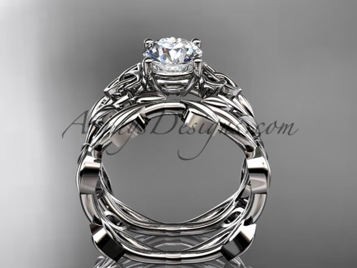 celtic knot 14kt white gold leaf wedding ring set ct7522s - Leaf Wedding Ring
