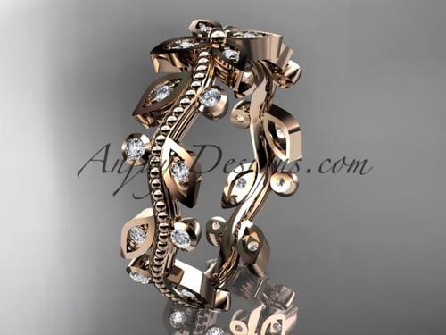 14k rose gold diamond leaf and vine wedding ring, engagement ring, wedding band ADLR3B