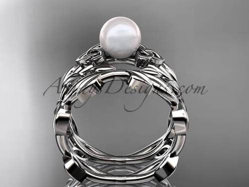 celtic platinum pearl leaves bridal ring set ctp7522s - Celtic Wedding Ring Sets