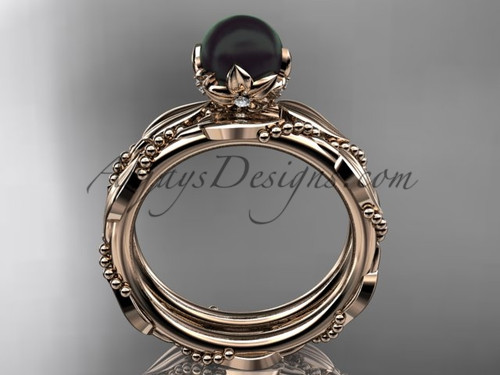 unique diamond black pearl wedding set ring 14kt rose gold wedding ring abp178s - Pearl Wedding Ring