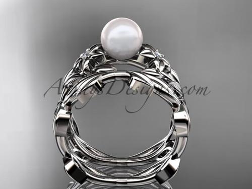 pearl wedding sets platinum modern flower engagement ring set ap424s - Pearl Wedding Ring Sets