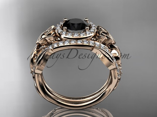 black diamond celtic wedding ring sets 14kt rose gold floral bridal set ct7300s - Black Diamond Wedding Ring Set