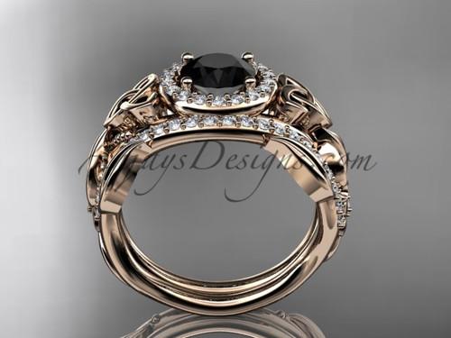 black diamond celtic wedding ring sets 14kt rose gold floral bridal set ct7300s - Irish Wedding Ring Sets