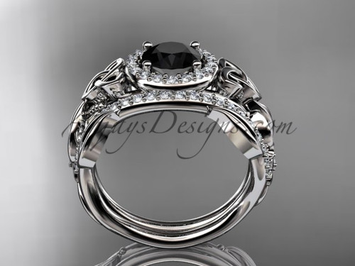 Black Diamond Celtic Wedding Ring Sets Platinum Floral Bridal Set CT7300S