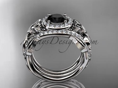 double band black diamond ring for women platinum diamond celtic trinity knot wedding ring set ct7300s - Black Diamond Wedding Rings For Women