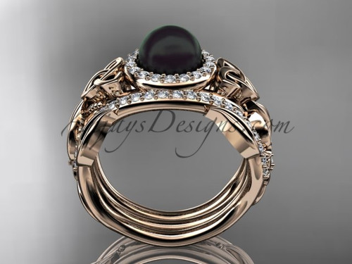 black pearl double band halo wedding rings 14kt rose gold triquetra celtic bridal ring set ctbp7300s - Rose Gold Wedding Ring Set