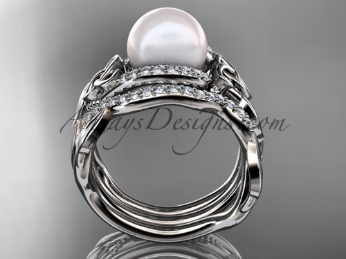 Leaf Diamond Pearl Engagement And Wedding Ring Set 14kt White Gold Celtic Trinity Knot