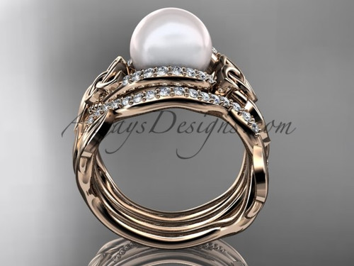 leaf diamond pearl engagement and wedding ring set 14kt rose gold celtic trinity knot wedding set - Pearl Wedding Ring Sets