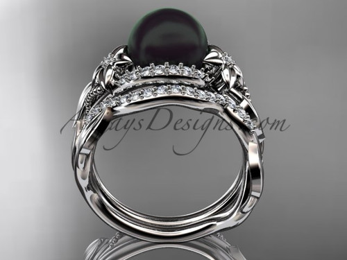 unique 14kt white gold wedding sets black pearl and diamond engagement rings abp326s - Pearl Wedding Ring Sets