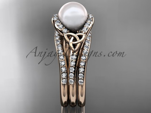 Pearl Celtic Double Band Engagement Ring 14kt Rose Gold Diamond Irish Trinity Knot Wedding CTP7317S