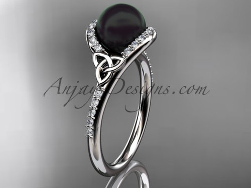 Irish Black Cultured Pearl Engagement Rings White Gold Diamond Celtic Trinity Knot Wedding Ring CTBP7317