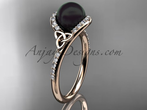 Irish Black Cultured Pearl Engagement Rings Rose Gold Diamond Celtic Trinity Knot Wedding Ring CTBP7317