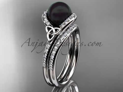 Black Cultured Pearl Celtic Wedding Set White Gold Diamond Irish Trinity Knot Engagement Ring CTBP7317S