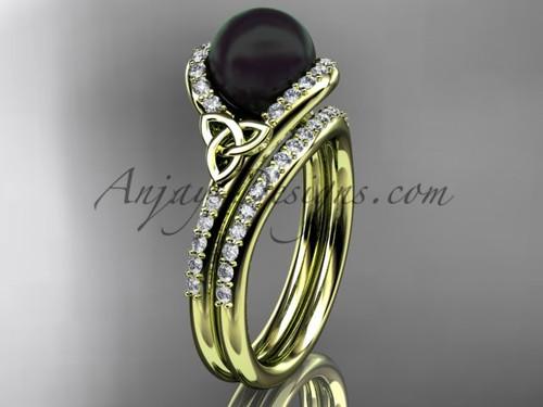 Black Cultured Pearl Celtic Wedding Set Yellow Gold Diamond Irish Trinity Knot Engagement Ring CTBP7317S