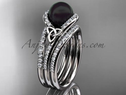 Black Cultured Pearl Celtic Double Band Engagement Ring White Gold Diamond Irish Trinity Knot Wedding Ring CTBP7317S