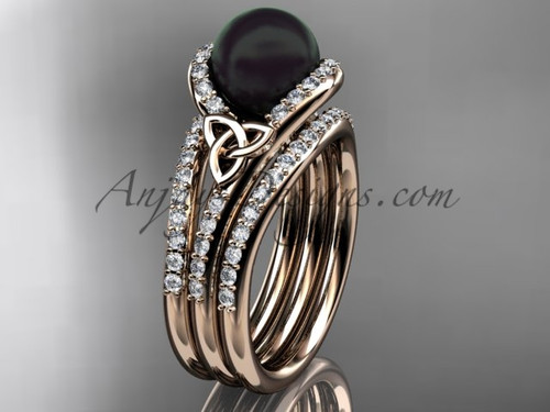 Black Cultured Pearl Celtic Double Band Engagement Ring Rose Gold Diamond Irish Trinity Knot Wedding Ring CTBP7317S