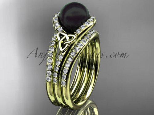 Black Cultured Pearl Celtic Double Band Engagement Ring Yellow Gold Diamond Irish Trinity Knot Wedding Ring CTBP7317S