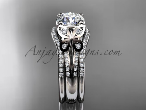 double rings wedding set platinum moissanite butterfly engagement ring adlr514s - Butterfly Wedding Rings