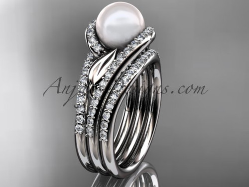 Pearl Double Rings Wedding Set Platinum Diamond Leaf Engagement Ring AP317S