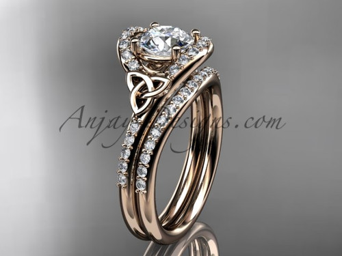 Diamond celtic trinity knot wedding Set, 14kt rose gold irish engagement ring CT7317S