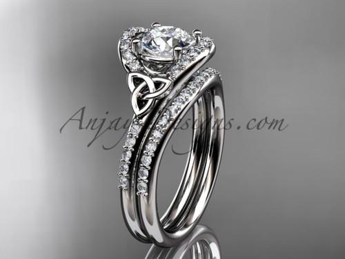 Irish Celtic Wedding Sets Platinum Moissanite Ring CT7317S
