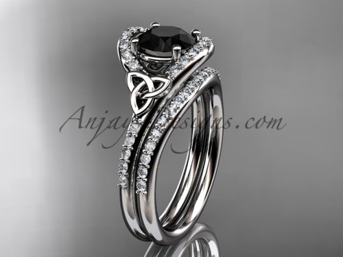 Celtic Wedding Sets White Gold Black Diamond Ring CT7317S