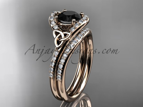 Celtic Wedding Set Rose Gold Black Diamond Ring CT7317S