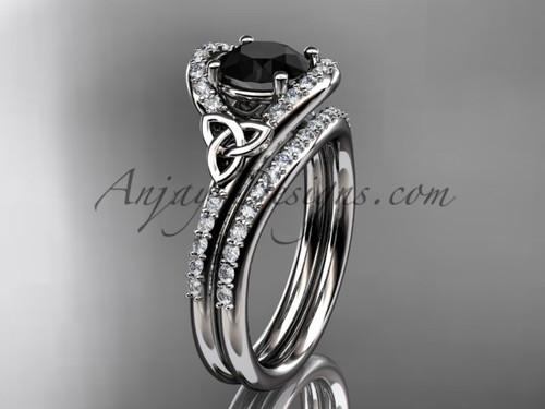 Irish Celtic Wedding Set Platinum Black Diamond Ring CT7317S