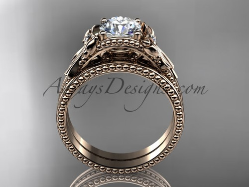 Bow Wedding Set Rose Gold Sapphire Engagement Ring ADLR376S