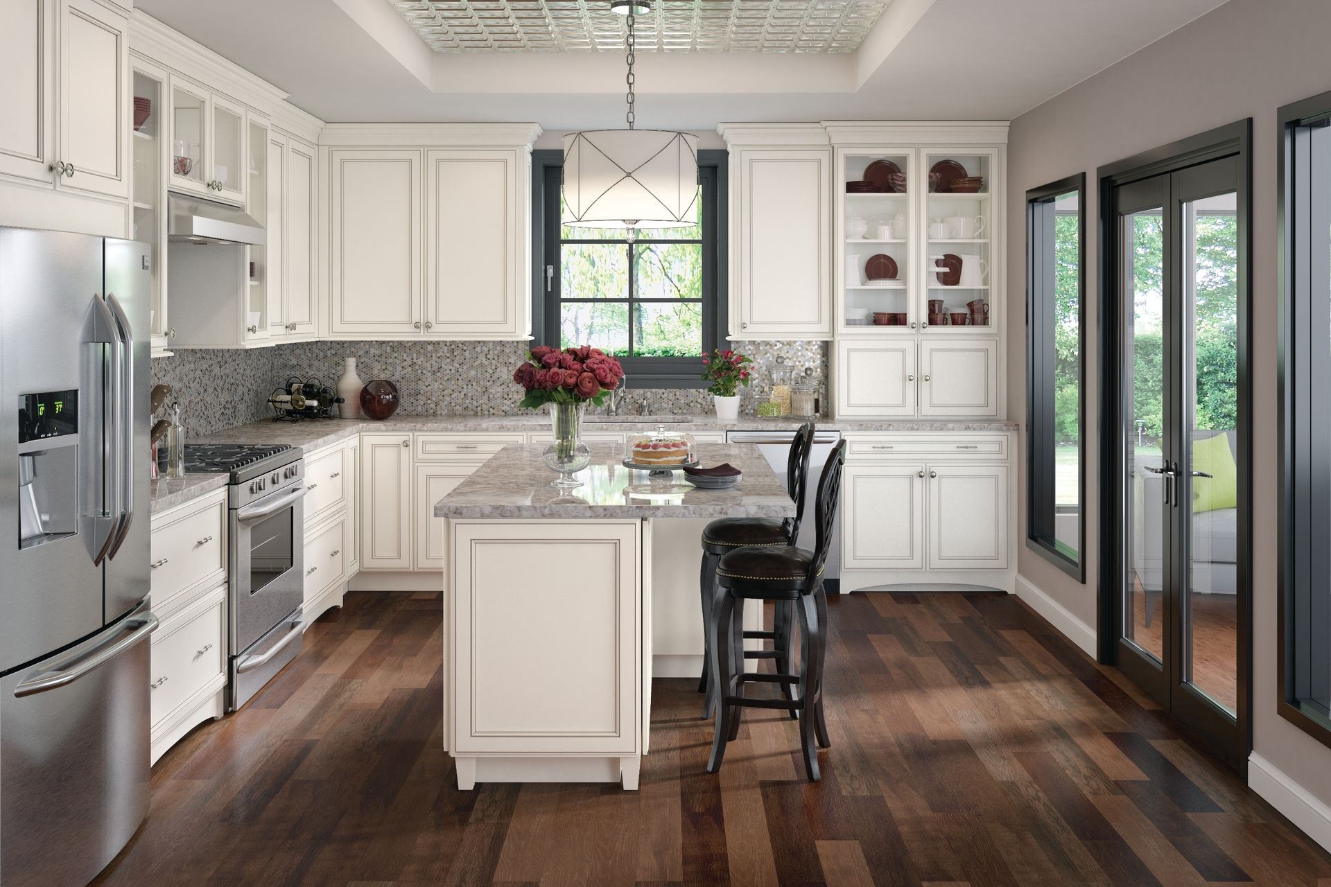 Cardell kitchen cabinets hannaford maple in dove white for Dove white cabinets with cocoa glaze