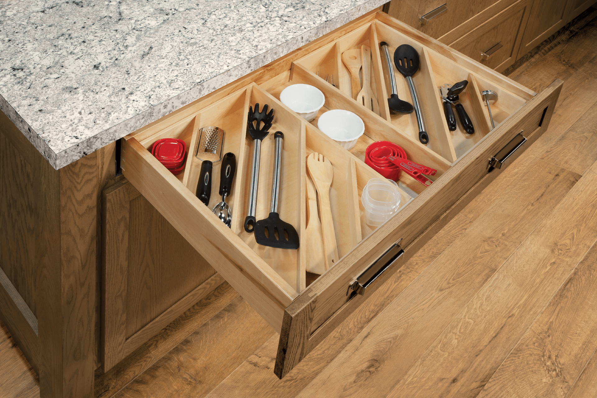 Utensil drawer organizer angled