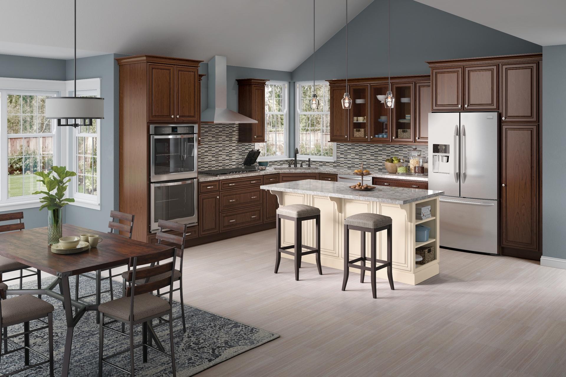 aj kitchen design. Colfax Cherry Chocolate With Ebony Glaze And Maple Canvas Cocoa Cardell Kitchen Cabinets  In