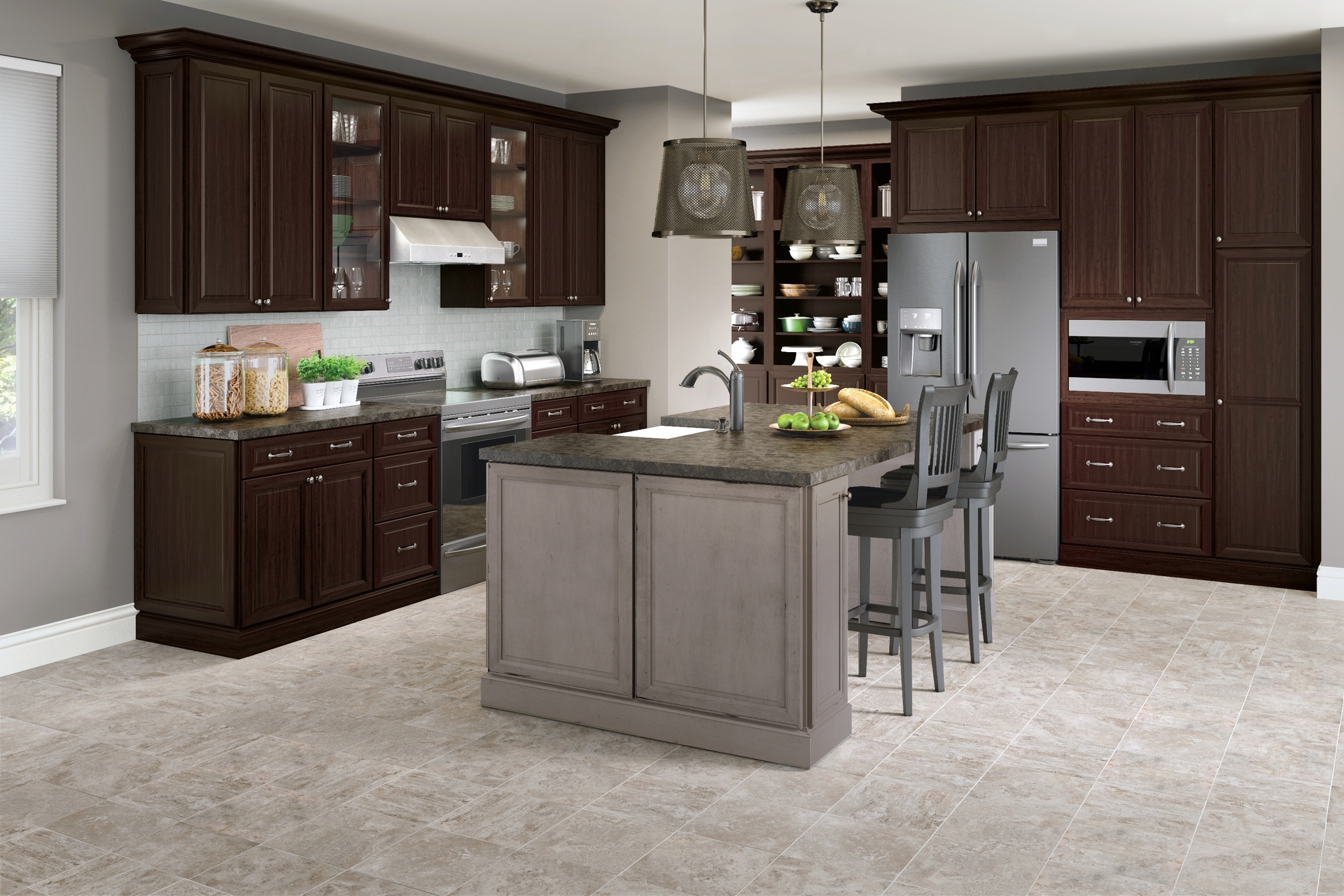 Cardell Kitchen Cabinets - Knowlton Cherry in Peppercorn