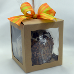 All Chocolate Dipped Caramel Apples come in a gift box with ribbon.