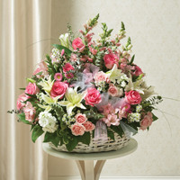 Large Sympathy  Arrangement in Basket-Pink & White