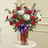 Red, White & Blue Large Sympathy Vase Arrangement