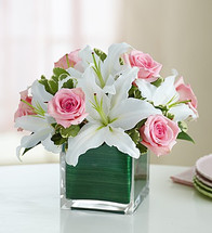 Modern Embrace™ Pink Rose And Lily Cube Bouquet - Small 91116S