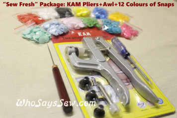 "Genuine KAM Snap+Pliers+Awl+Colour Card ""Sew Fresh"" Pack. 120 full sets of size 20 plastic resin snaps in 12 colours."