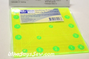 "4.5"" x 4.5"" anti-slip fluoro quilting ruler"
