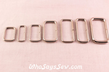 Metal Wire-Formed Rectangle Rings in Shiny Nickel. 7 Various Sizes.