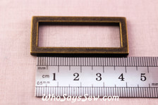 2 Alloy Rectangle Rings in Antique Bronze. 3.8cm
