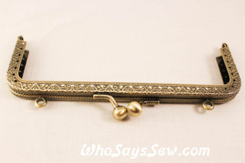 15CM EMBOSSED ANTIQUE BRASS KISSLOCK PURSE FRAME- ROUND AND SQUARE