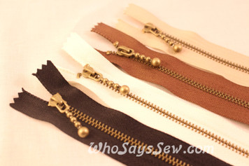 Antique Brass Metal Zipper in 4 Colours- 30cm or 40cm. Suitable for Bags