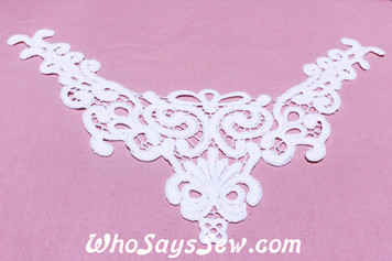 Large Cotton Lace Collar/Yoke in Snow& Natural White (0650)